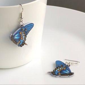 NEW Acrylic Blue Butterfly Earrings